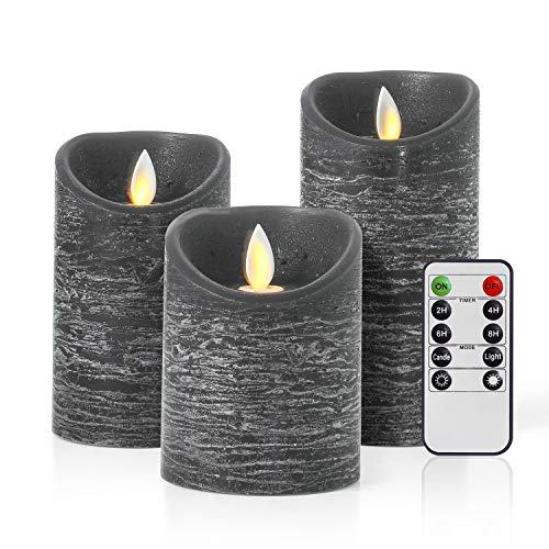 Calatre Flameless Candles Set of 3, Battery Operated Candles with Remote Control and Timer, Pillar Real Wax Electric LED Candle Black Candles Sets