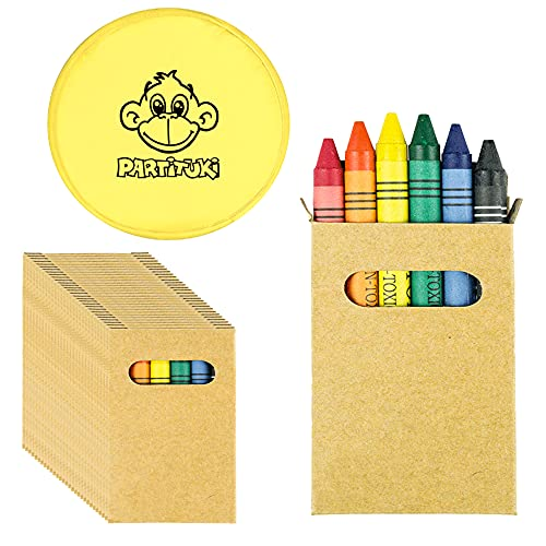 Partituki Gadget Compleanno Bambini Set di Pastelli a Cera Coloranti, Ognuno con 6 Pastelli e Un Frisbee. Ideale per Regalini Fine Festa Bambini e Pignatta (Pack 10)