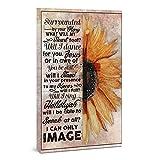 Lienzo enmarcado con diseño de girasol, rodeado de tu gloria con lo que se sentirá mi corazón y se bailará para ti Jesús, decoración del hogar, retrato enmarcado (20,3 x 30,5 x 3,8 cm)