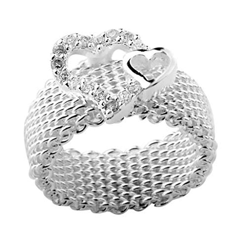 Cadoline Silver Plated Chainmail with Heart Ring Size P 1/2 (UK, AU) 8 (US) Woven Wire Chain Wicker Thumb Net