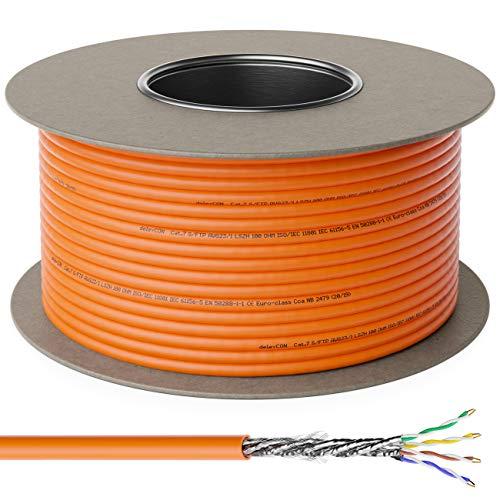deleyCON 100m CAT.7 Verlegekabel Kupfer Starr S/FTP PIMF Netzwerkkabel Installationskabel LAN Kabel Ethernet Datenkabel Gigabit CAT7 10Gbit 1000MHz LSZH Halogenfrei BauPVO