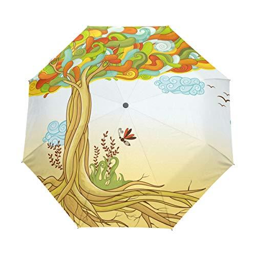 Kompakter Reise-Regenschirm, Kunstdruck, Lebensbaum, automatisches Öffnen und Schließen, Winddicht, UV-Schutz