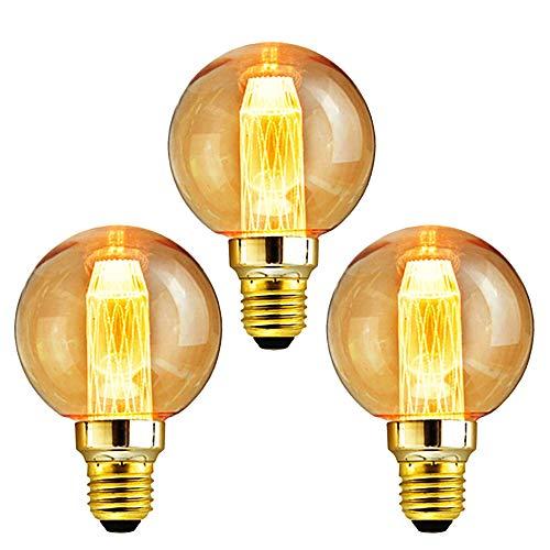 Edison Vintage Glühbirne, massway LED Retro Glühbirne E27 DG80 (3W/220V) LED Kristall Filament Warmweiß Antike Glühlampe, Ideal für Dekorative Beleuchtung im Haus Café Bar - 3 Stück