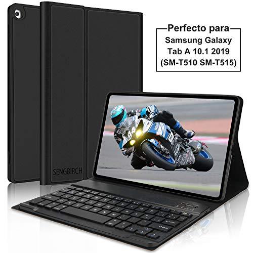 SENGBIRCH Teclado con Funda para Samsung Galaxy Tab A 2019 10.1 Tablet, Diseño de Español Teclado Bluetooth con Auto Despertar/Dormir con Inteligente Cover para Samsung T510/T515/T517,Negro