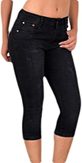 Women's Stretch Slim Fit Pull-On Capri Jeans Pull-On Cropped Denim Pants