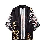 Kimono Japonais Homme Veste Vintage Chinese Style Casual Chemise Homme Manches 3/4 Taille Grande Cadeau Anniversaire Été Japonais à Cinq Points Manches Kimono Hommes Femmes Manteau Veste Haut Blouse