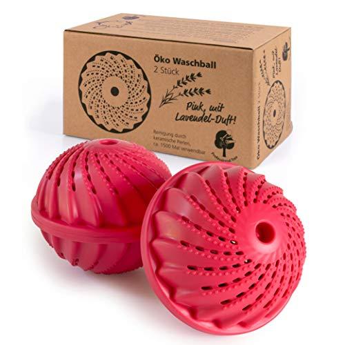 ProfessionalTree 2 x Boules de Lavage - Boule de Dosage avec Perles en Céramique - Laver sans Lessive - Pour env. 1 500 Lavages - Balle de Lavage rose à l'odeur de Lavande