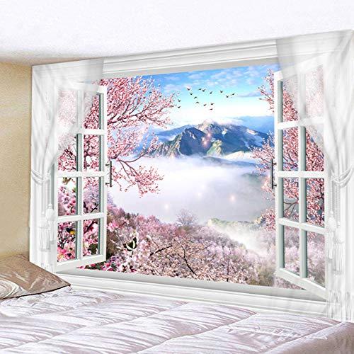 AdoDecor Tapiz Mandala Indio Flores de Cerezo románticas Misty Mountain Colgante de Pared Sandy Beach Throw Alfombra Manta Camping 150x100cm/59 * 39inches