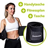 FREEMONDO Bauchgürtel inkl. Handytasche und Fitnessplan, Fitnessgürtel, Schwitzgürtel zur...