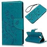 Foto KASOS Wiko U Feel Cover, Custodia per Wiko U Feel Flip Case Pelle PU Cuoio Morbida Portafoglio Wallet Color Blu
