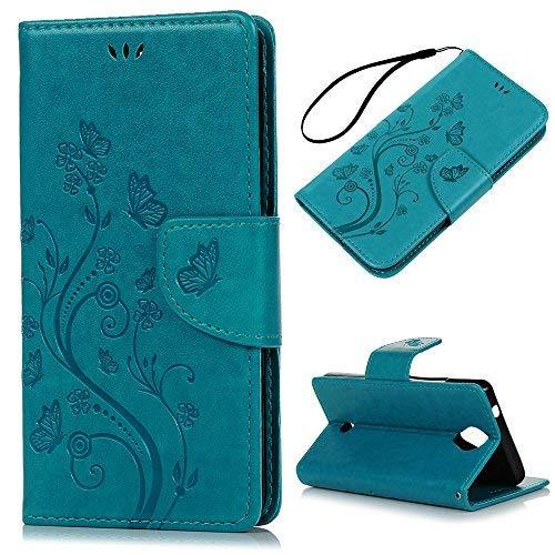 KASOS Wiko U Feel Cover, Custodia per Wiko U Feel Flip Case Pelle PU Cuoio Morbida Portafoglio Wallet Color Blu
