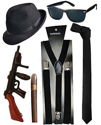 Blues Brother Hut Brille Schwarze Krawatte Hosenträger Zigarren Tommy gun Gangster Verkleidungsset