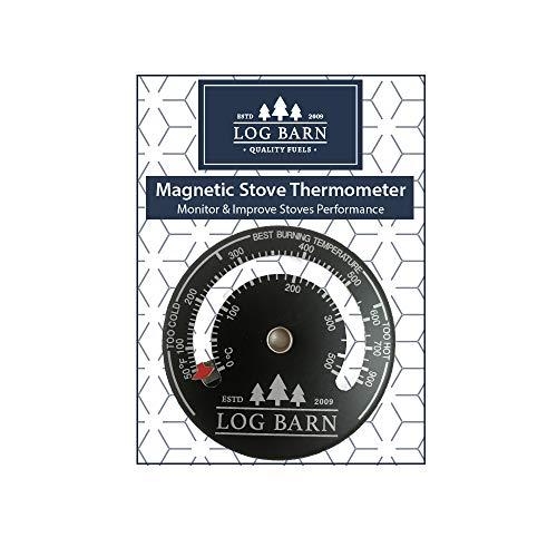 Log-Barn magnetisches Brenner- und Ofenthermometer für Ofenoberfläche und Kaminrohr Temperaturzone für beste Brenndauer – inklusive Schraube.