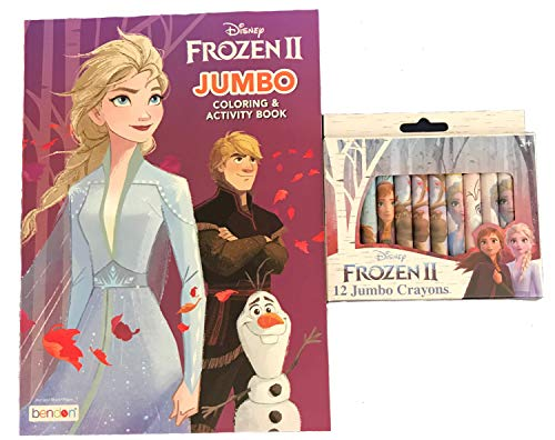 Disney Frozen 2 Elsa Coloring and Activity Book Bundle with Frozen 2 Jumbo Crayons