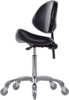 FRNIAMC Adjustable Saddle Stool Chairs with Back Support Ergonomic Rolling Seat for Medical Clinic Hospital Lab Pharmacy Studio Salon Workshop Home Office Use (with Backrest, Black)