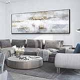 Lienzos modernos Carteles e impresiones Pintura al óleo original abstracta de fondo blanco Arte de la pared Pintura Decoración de la sala de estar 40x160cm (16'x63') Sin marco