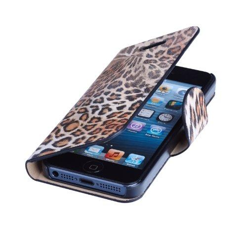 Custodia protettiva in pelle con motivo leopardato, per iPhone 5, colore: giallo