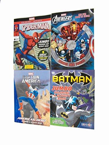 Marvel Ausmalen und Aktivitäten Bücher-Geschenk-Set für Kinder 3 Marvel Dc Bücher Plus 1 gratis Comic-Buch-avengersâ ®-Captain americaâ ®-spidermanâ ® batmanâ Dc Comic-Plus ® und Sticker-Set