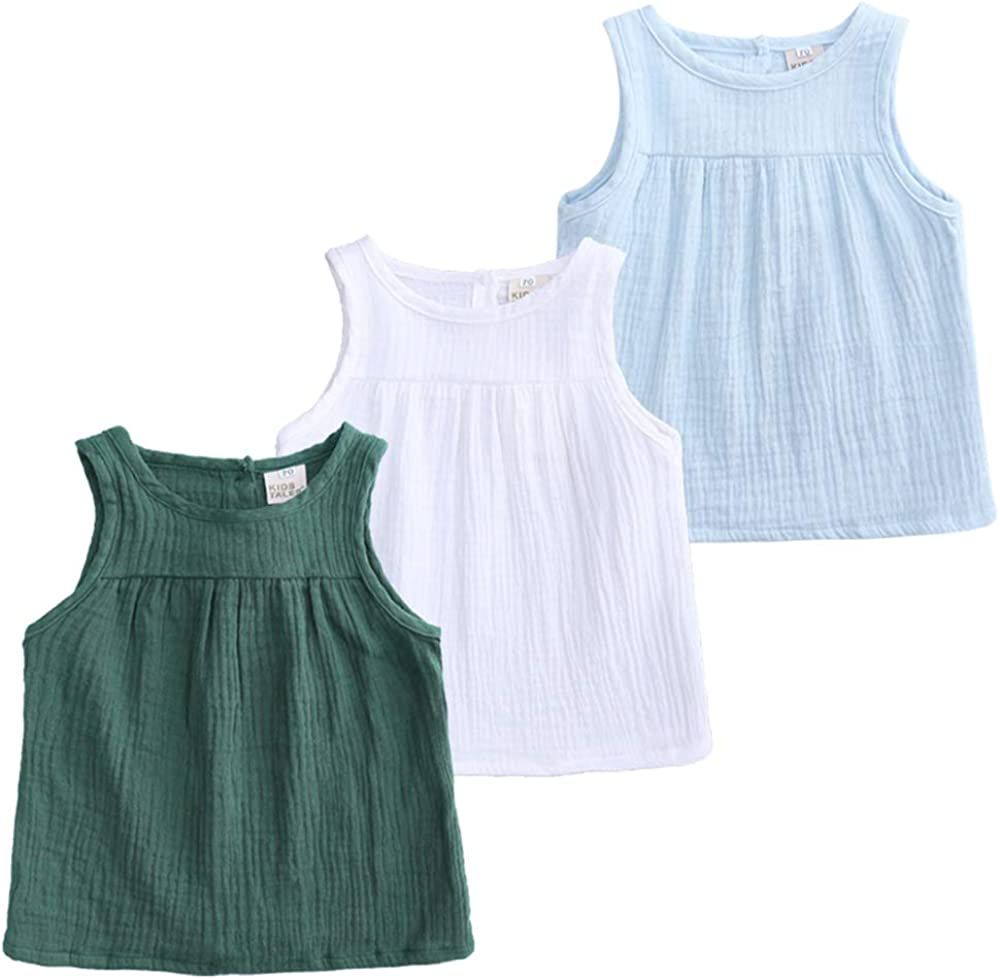 Special price Kids Tales Baby Girls Boys Minneapolis Mall Cotton Linen S Blend Summer Tank Tops