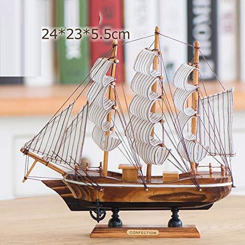 hacpigbb Adorno para Velero De Madera con Malla Modelo Vela, Decoración De Barco De Playa Adecuado para Sala De Estar Dormitorio Estudio - Forma 4