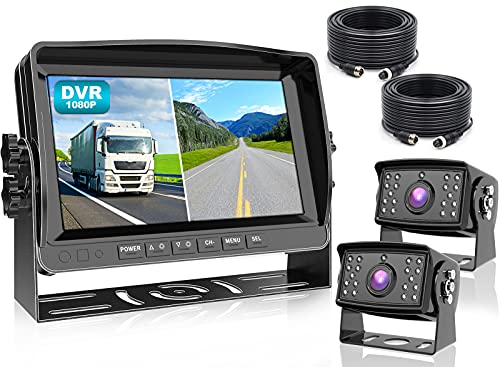 """Fookoo Ⅱ HD 1080P 9"""" Wired Backup Camera System, 9-inch DVR Dual Split Screen Monitor, IP69 Waterproof Rear View Camera for Truck/Trailer/Box Truck/RV, Loop Record, Parking Lines (DY912)"""