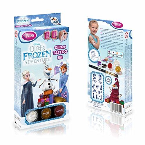 Disney Olaf's Frozen Adventure Glittzertattooset 12 Amazing Schablonen – Hypoallergen, ohne Tierversuche hergestellt – für 8–18 Tage, temporäre Tattoos