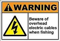 オーバーヘッド電気ケーブルに注意してください 金属板ブリキ看板警告サイン注意サイン表示パネル情報サイン金属安全サイン