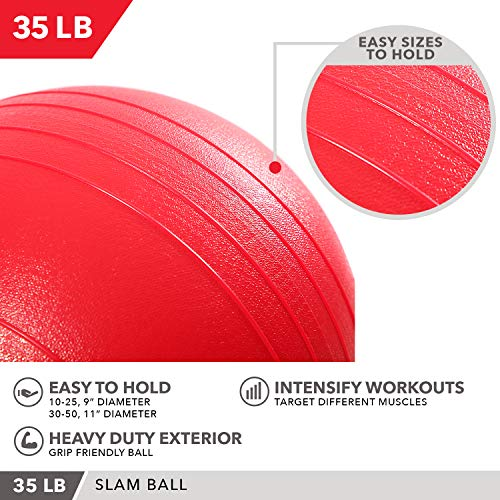 Weighted Slam Ball by Day 1 Fitness – 35 lbs RED - No Bounce Medicine Ball - Gym Equipment Accessories for High Intensity Exercise, Functional Strength Training, Cardio, CrossFit