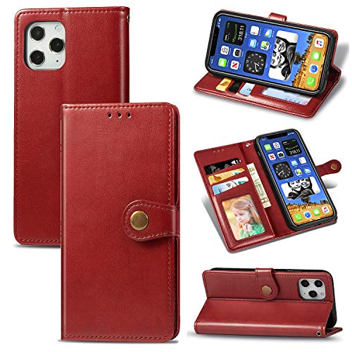 HTom's Village Classic Pure Wallet Case for iPhone 12 Pro ID/Credit Card Slots PU Leather Magnetic Flip Cover Drop Resistant Shockproof Flexible Soft TPU Rubber Bumper Shell Protective Cover Red