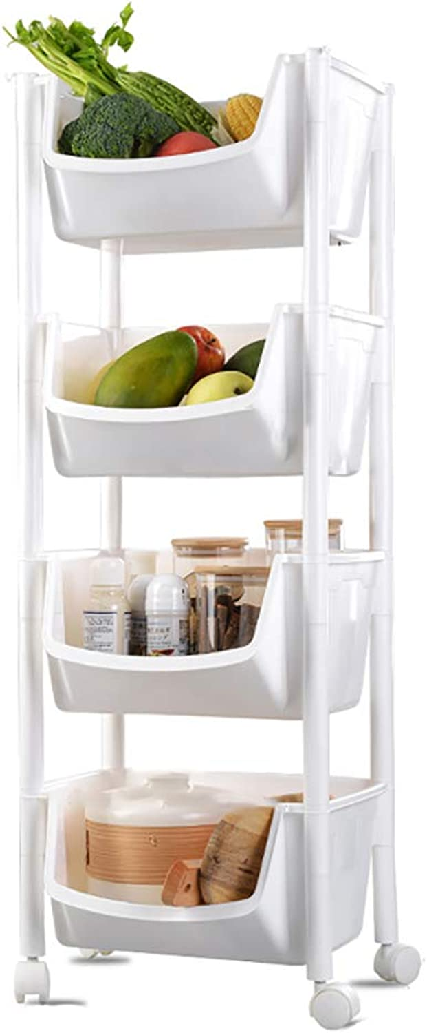 4 Tier Kitchen Storage Trolley with Wheels Plastic Fruit Vegetable Rack for Bathroom Multifunction Organizing (color   A)