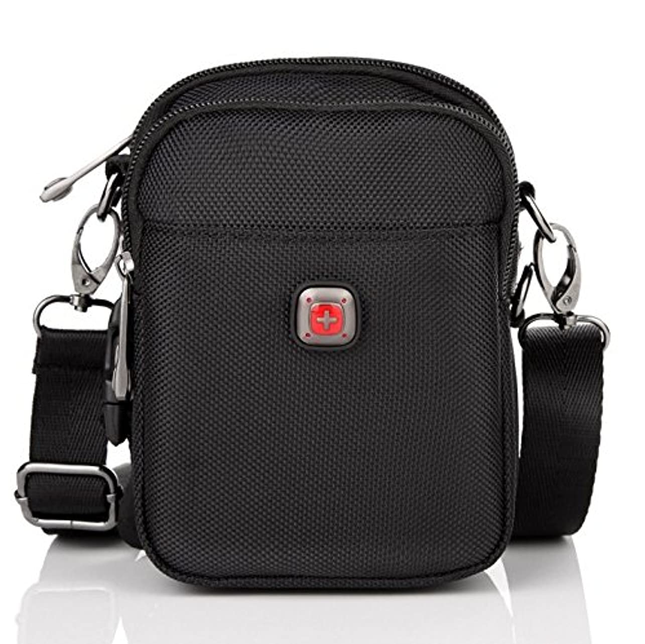 コンペマルコポーロ描写ボディバッグ 肩掛けバッグ 斜めがけ 片掛け 斜めがけ ショルダーバッグ メンズ ユニセックス アウトドア スポーツ 通学/登山/旅行バッグ 色:ブラック