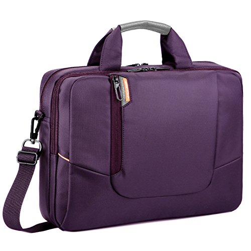 BRINCH(TM) 17.3 inch New Soft Nylon Waterproof Laptop Computer Case Cover Sleeve Shoulder Strap Bag with Side Pockets Handles and Detachable for Laptop/Notebook/Netbook/Chromebook,Colour Purple