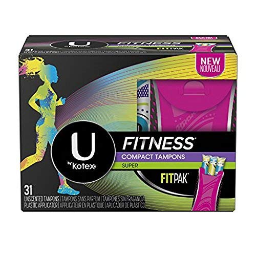 U by Kotex Super Absorbency Fitness Compact Tampons, 31 Unscented Tampons (Pack of 2)