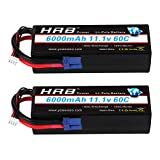 HRB 2packs 3S Lipo Battery 11.1v 6000mAh 60C Hard Case RC Battery with EC5 Connector Plug for RC 1/8 1/10 Scale Vehicles Car,Trucks,Boats