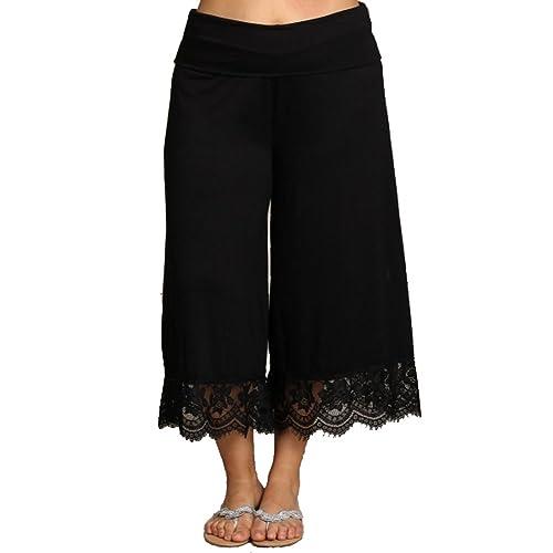 39d3fa204abcea curvyluv.com Women's Plus Size Cropped Capri Palazzo Pants Gaucho Fold  Waist Lace Trim Midnight