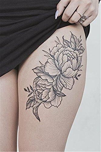 COKOHAPPY Temporary Tattoo Floral Black Peony Flower - set of 5 Pcs