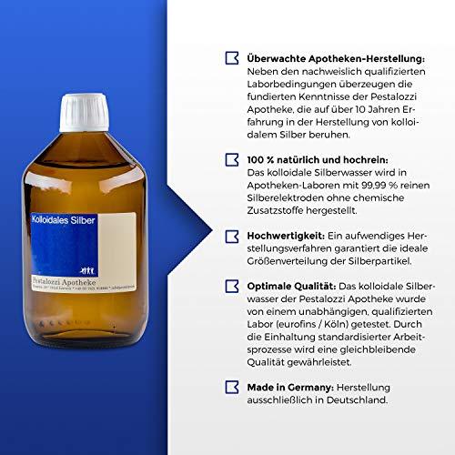 Kolloidales Silber 100ppm aus Apotheken-Herstellung - 100% natürliches, kolloidales Silberwasser, ohne chemische Zusatzstoffe (100 ml) - 3