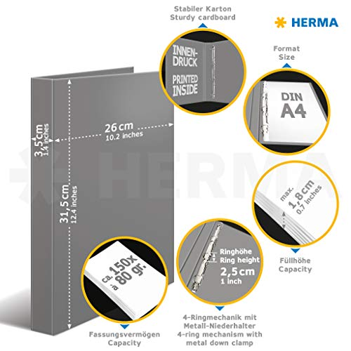 HERMA 19358 – Archivador de anillas DIN A4, de cartón serie ...