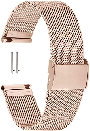 YGRY Correa de Reloj para Reloj Inteligente, Metal Watch Strap de Malla de Acero Inoxidable de 18 mm / 20 mm / 22 mm Pulseras de Repuesto de liberación rápida para Hombres y Mujeres (20 mm, Oro Rosa)