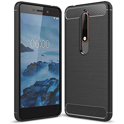 NALIA Hülle kompatibel mit Nokia 6.1 (2018), Ultra-Slim Handyhülle Silikon Hülle Cover, Dünne Crystal Phone Schutzhülle, Stoßfeste Etui Handy-Tasche Backcover Bumper Smartphone Gummihülle - Schwarz