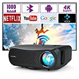 1080P Native FHD Projector Wifi Bluetooth HDMI 1920x1080p Smart Wireless LCD LED Movie Projector Built-in Speakers, Airplay/Miracast,USB, ZOOM, 7200lm Video Proyector Beamer for Home Theater Gaming TV
