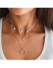 Collar largo de múltiples capas de moda bohemia gargantilla con colgante de estrellas de luna para mujer, regalo elegante para ella (dorado)