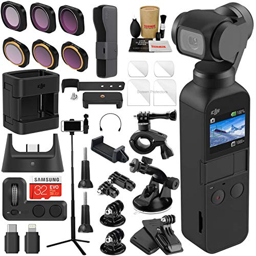 DJI OSMO Pocket 3 Axis Gimbal Camera Bundle with OSMO Pocket Expansion Kit, ND & Rotating Polarizer Filter Set, Extension Rod/Selfie Stick, Tripod & Must Have Accessories (14 Items)
