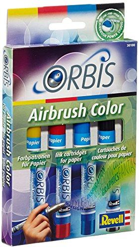 Orbis Airbrush, Orbis-Farbpatronen, Papierfarbenset mit 4 Farben, für Papier, Pappe, unbehandeltes Holz, Leinwand etc., einfacher Wechsel der Airbrushfarben - gelb, rot, blau, schwarz 30100