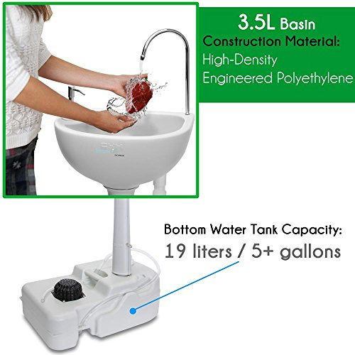 Product Image 1: SereneLife Portable Camping Sink w/ Towel Holder & Soap Dispenser – 19L Water Capacity Hand Wash Basin Stand w/ Rolling Wheels – For Outdoor Events, Gatherings, Worksite & Camping – SLCASN18,White