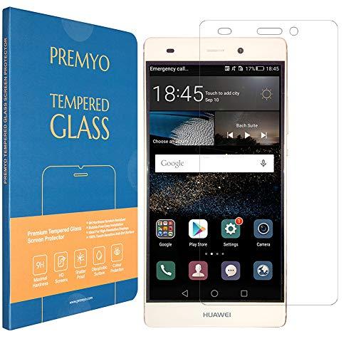 PREMYO Cristal Templado Protector de Pantalla Compatible con Huawei P8 Lite Dureza...
