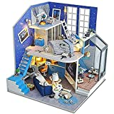 ZHANG Mini Casa de Muñecas, Amueblado, Kit de Casa de Muñecas DIY, Modelo Mini Villa Moderna, Casa de Muñecas Creativa con Luz LED, Regalos para Niños