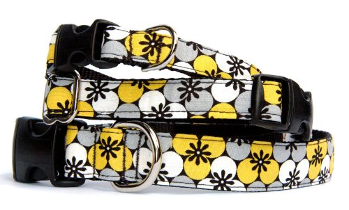 Fabric Dog Collar : Zen Plum frolal pet Collar in Yellow, Gray, White, Black on Black Nylon Backing for Puppy, Small Dog to Large Dog. Custom Made in USA