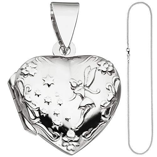 JOBO Damen Medaillon Herz Anhänger zum Öffnen für 2 Fotos 925 Silber mit Kette 42 cm