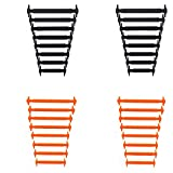 MIRX Cordones elásticos planos del zapato del silicón, ningunos lazos impermeables del cordón para los cabritos y los adultos (Negro + Naranja)